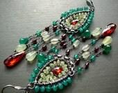 Mughal wire wrapped chandelier earrings - sterling silver, green onyx, prehnite, red garnet, cubic zirconia