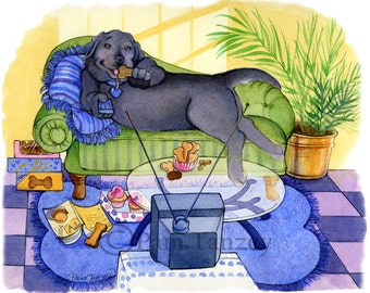 Black Lab Bonbon Eating Sofa Dog Art Print Free Matching Card Great gift for Black Lab Lovers