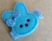 Boutique Embroidered Felt Blue Easter Bunny Hair Clippie