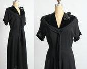 ON SALE 1930s Dress w. Sequin Corsage. Black LBD