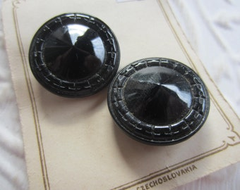 Vintage Buttons -  beautiful lot of 2 matching black, novelty edge, Czechoslovakia very old, original card Reliance (mar 250)