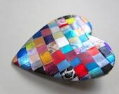 Heart Pin Booch in quilt mosaic pattern in