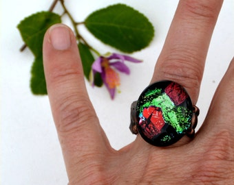 014 Fused dichroic glass ring, adjustable, red, green, copper