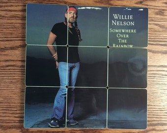 Willie Nelson handmade wood coasters with record bowl from recycled Somewhere Over the Rainbow music album