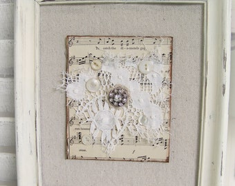 Shabby White Decor Altered Lace Art  Vintage Rhinestone Collage Wall Hanging Cottage Style  Vintage Music Vintage Lace Framed Rhinestone