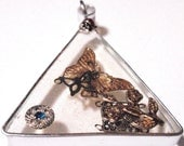 Butterflies and a Lady Bugs Love Triangle Large See Through Geometric Pendant Vintage Assemblage in Resin Ornament Sun Catcher Acrylics D3