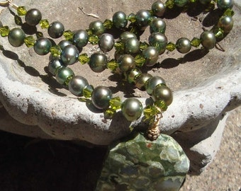 Christmas in July Rhyolite and pearls Brianna necklace Pendant Necklace     Pearl Necklace  originally 98 dollars now 74 sale