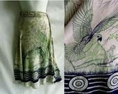 Vintage 60s Wrap Skirt Free size Green Bird Parrot 70s India Ethnic Hippie Boho