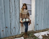 S-M Upcycled Vintage Wool Granny Square Cardigan Sweater// Reconstructed Winter// emmevielle