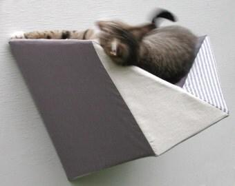Cat shelf wall bed in greys, beige & stripes