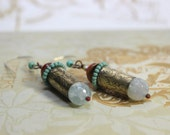 RESERVED Beautifully Etched Bullet Casing Earrings - Earth 2