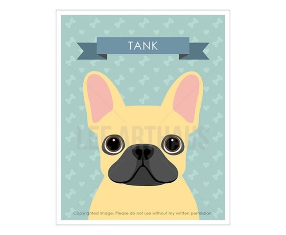 23N Dog Prints - Personalized French Bulldog Wall Art - French Bulldog Print - Custom Name Wall Art - Pet Wall Art - Pet Portrait - Dog Art