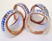 vintage napkin rings - Mexican ceramic stoneware napkin ring set - 4 pieces