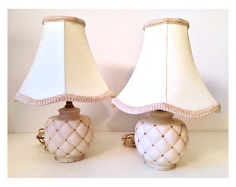 vintage lamps - quilted cream gold satin glass table lamps - set of 2