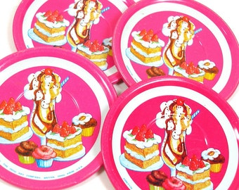 "80s Tin Toy tea saucers, Dessert designs, set of 4 matching, 2 1/2""."