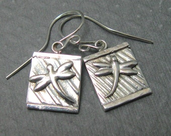 Dragonfly textured pendant earrings in sterling silver, artisan dragonfly earrings