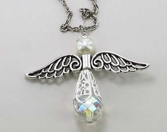 Joyful Angel Car Catcher with Silvery Wings, Rear View Mirror Dangle, Handbag Charm, Necklace, Bridal Keepsake, Spiritual Gift