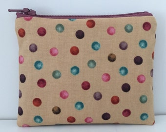Polka Dot Coin Purse - Cotton Change Purse - Small Zipper Pouch