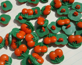 """Cherry Buttons - Orange Cherries - Cherry Sewing Shank Loop Snap Button - 1/2"""" 13mm Wide"""