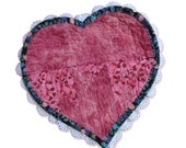 Mug Rug Victorian Styled Fabric Heart Valentine Quilted Patchwork Pieced and Lace Embellished Free US Shipping