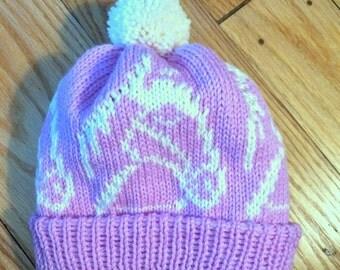 Horseback rider // equestrian pony hat // pom pom // handmade adult hat // made in USA // gift for horse owner