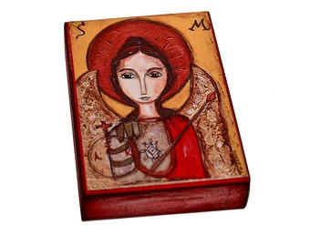 Saint Michael - Giclee print mounted on Wood (5 x 7 inches) Folk Art  by FLOR LARIOS