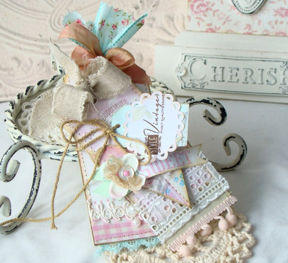 Sweet Shabby Chic Handmade Tag Set