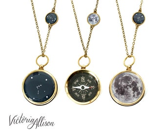 Moon and Stars Large Working Compass and Charm Necklace - Choose Your Constellation, Birthday, Custom Zodiac Jewelry, Brass or Silver