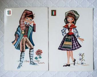 FOUND IN SPAIN -- 2 vintage postcards -- European traditional dress - Italy