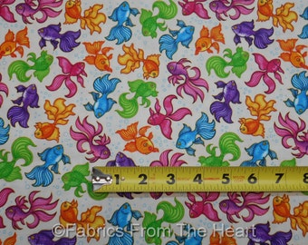 Goldfish in Neon Bubbles on White A Tale of Two Kittie BY YARDS QT Cotton Fabric