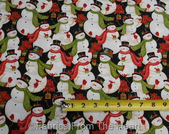 Snowmen Cardinal Birds Poinsettia Winter Bliss  BY YARDS Studio E Cotton Fabric