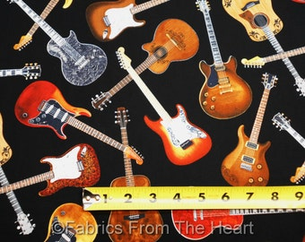 Electic Folk Guitars Music on Black  BY YARDS Timeless Treasure Cotton Fabric