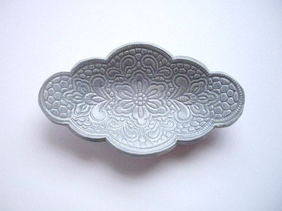 French Country Blue Mini Serving Oval Tray