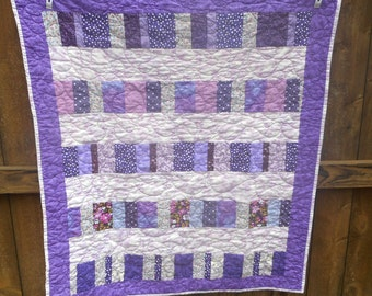 Toddler Bed Quilt, Lap Quilt, Baby Crib Quilt, Purple Scrap Quilt, Quiltsy Handmade