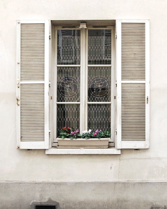 "Paris Photography, ""White Window"" Paris Print, Large Art Print Fine Art Photography, Modern Wall Art"