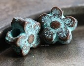 POSIES No. 2 .. NEW 2 Mykonos Greek Flower Charm Beads 12mm (M77-2)