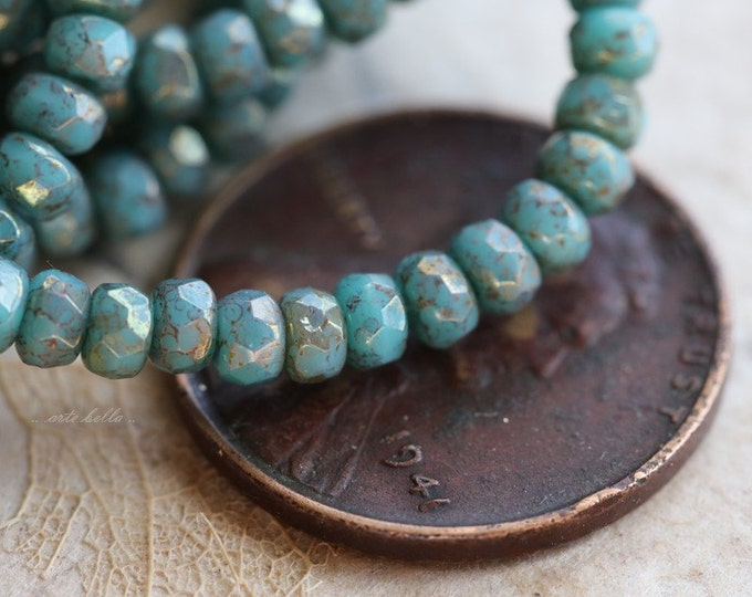 sale .. PERSIAN BITS .. 50 Czech Picasso Rondelle Glass Beads 2x3mm (5166-st)