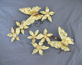 Vintage 60s Brass Butterfly Flower Wall Hangings 2pc Metal Art Copper