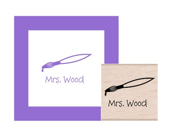 Art Teacher Paint Brush Personalized Rubber Stamp