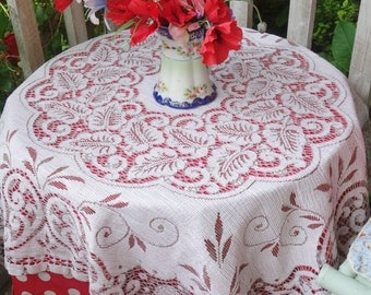 vintage maderia style lace tablecloth 42x46 inches