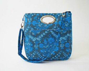 Cobalt blue Carrier Bag in Amy Butler fabric