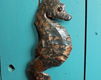 Seahorse - copper metal sea creature art sculpture - wall hanging - with verdigris blue-green patina - OOAK