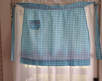 Vintage Gingham Half Apron with Cross Stitch Embroidery