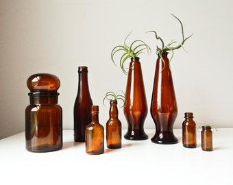 Brown Bottle Collection, 8 Amber Glass Vases