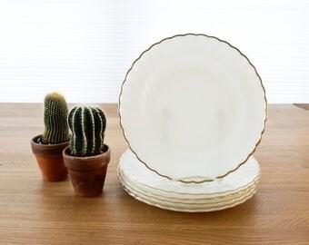 5 Anchor Hocking White Dinner Plates Gold Trim