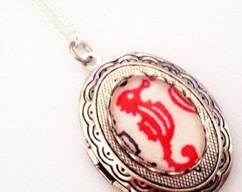 ON SALE Red Seahorse Cameo Locket - Nautical Ocean Sea Necklace