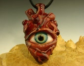 Glass Human Heart Eye Pendant lampwork Boro focal bead - Key chain VGW K Talamass (made to order)