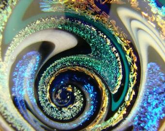 Large Vortex Marble Wig Wag Dichroic Glass Orb Art Fibonacci Golden Mean Spiral Optical Illusion (ready to ship)
