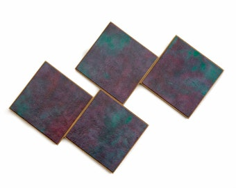 Handmade Paper Coasters, Teal Coasters, Manly Decor, Masculine Gift, Abstract Design, Jewel Tones,  Wood Coasters, Hostess Gift