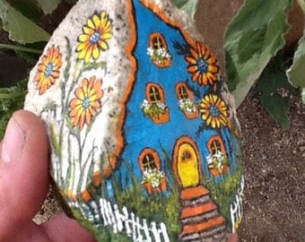 FAIRY GARDEN HOUSE Cute colorful hand painted rock home